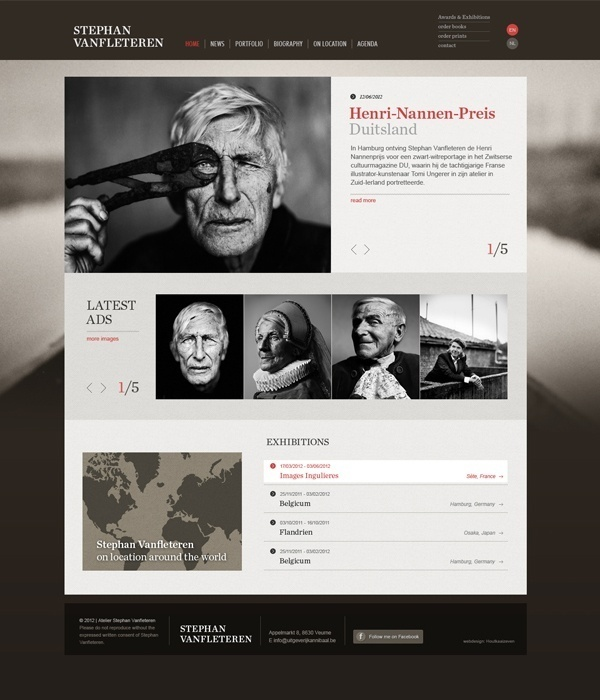 Web Design / Stephan Vanfleteren website by Tim Bisschop, via Behance #website #werbsite