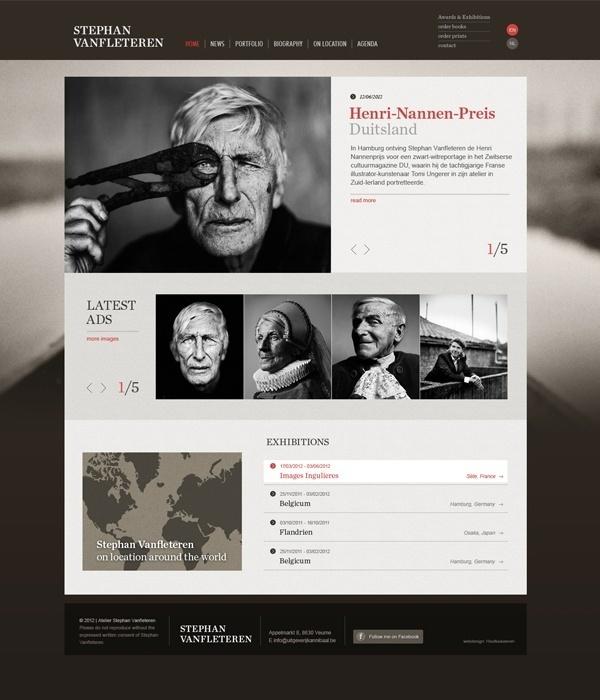 Web Design / Stephan Vanfleteren website by Tim Bisschop, via Behance