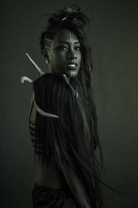 Beautiful colors #dark #darkskin #longhair #bones #green #black