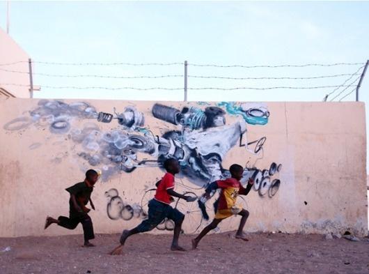 Juxtapoz Magazine - New Work from Laguna in Senegal | Street Art #graffiti #photography