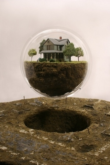thomas doyle: miniature catastrophic glass-contained memories #earth #levitation #house #installation