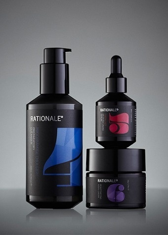 Essential Six Night Kit | Rationale Skin Care #bottle #packaging #fractal #pompadour #cosmetics #rationale #type #colour