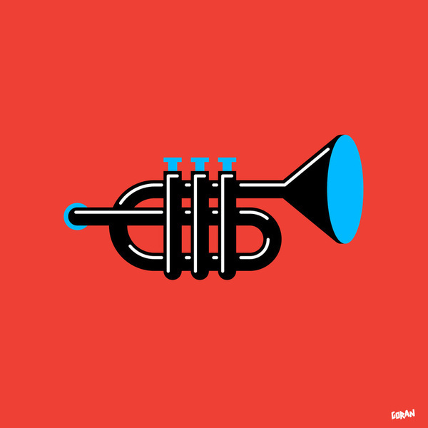 Trumpet Art Print, by Marco Goran Romano #inspiration #creative #red #trumpet #design #graphic #illustration #music