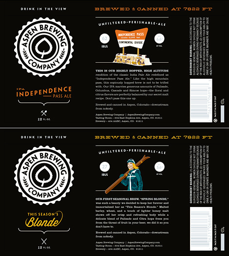 Aspen Brewing Company Packaging #packaging #beer #label #bottle