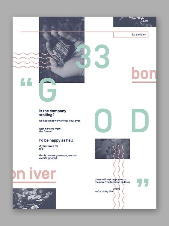"""Bon Iver '33 """"God""""' Typographic Poster #type #typography #image #abstract #swiss #poster"""