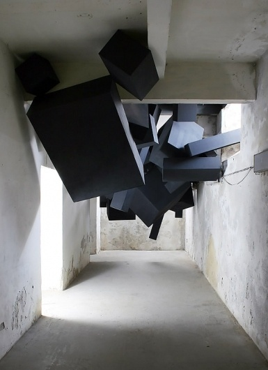 Via Grafik // From Wall to Screen to Everything™ #viagrafik #sculpture #cubes #via #installation #grafik #black #abandoned #building