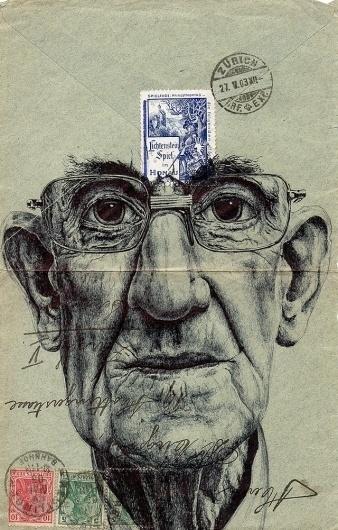 New Portraits Drawn on Vintage Envelopes by Mark Powell | Colossal #mark #design #illustration #powell #envelope #vintage