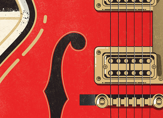 Rock 'n Ink Velcro Suit The Graphic Design and Illustration of Adam Hill #guitar #illustration #vector