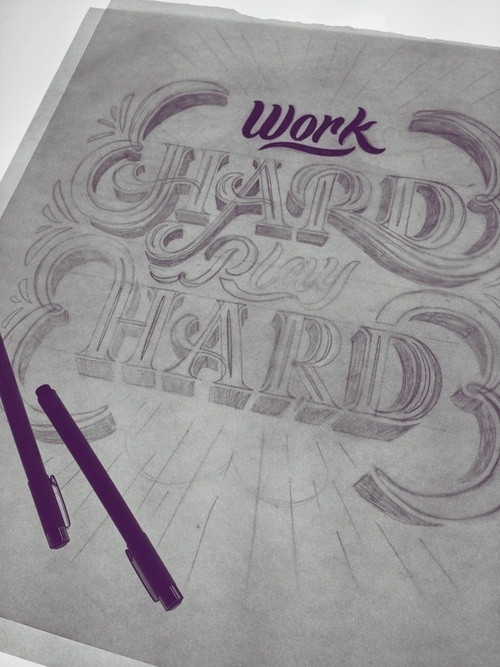 Work Hard, Play Hard Mural by Scott Biersack #lettering #drawn #type #hand #typography