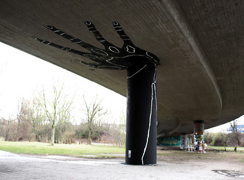 Dome #mural #overpass #black #art #street #bridge #hand