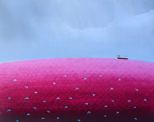 Artist painter Shirin Sahba #ocean #water #pink #journey #illustration #sea #sailing #boat #painting #purple