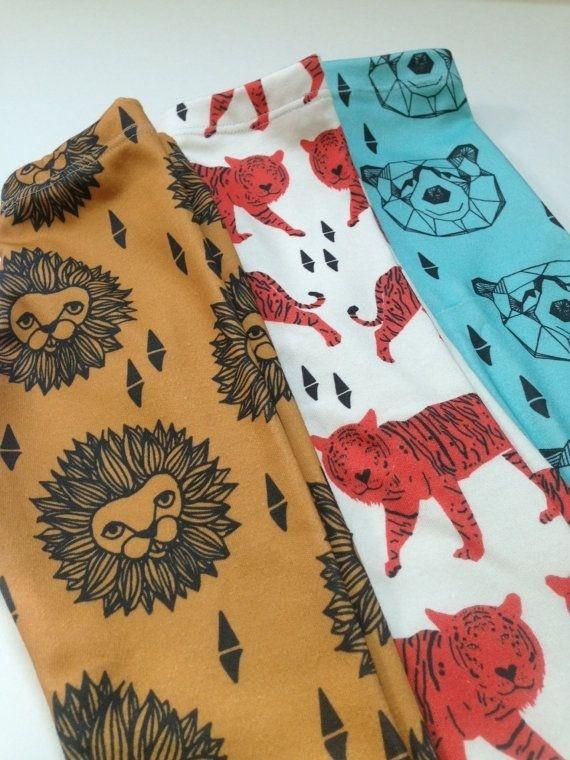 Organic cotton leggings by SweetKiddoCo patterns by Andrea Lauren #clothing #pattern #lion #leggins #fashion #tiger #baby #kids