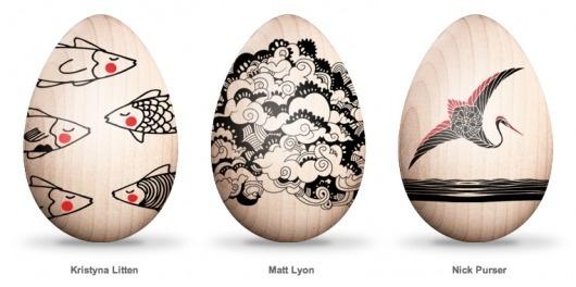 Eastern Eggs: Bot-Etched Art Eggs for Japan   Brain Pickings #easter #design #egg