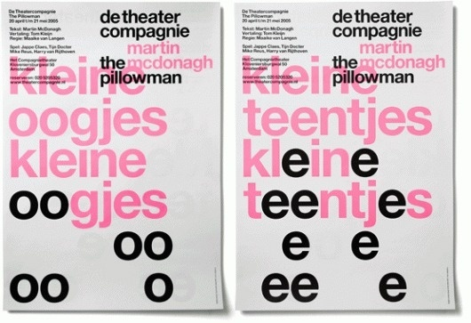 Google Image Result for http://inspirationlab.files.wordpress.com/2008/11/pillowmana2.gif #theatre #pink #print #de #crouwel #poster #wim #compagnice #typography