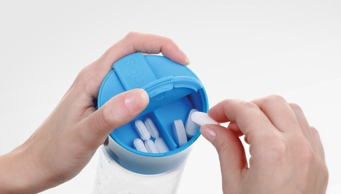 Keep pills organized and together with the water source. #modern #lifestyle #design #product #industrial #style
