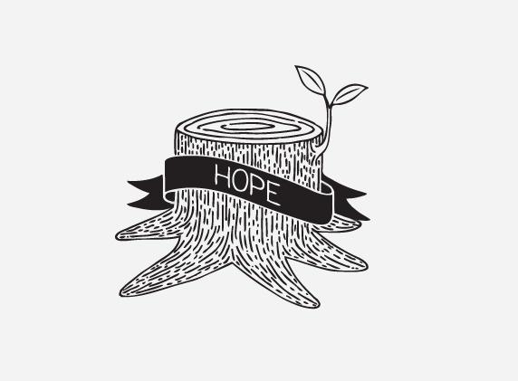mkn design Michael Nÿkamp #hope #banner #trunk #tree #leaf