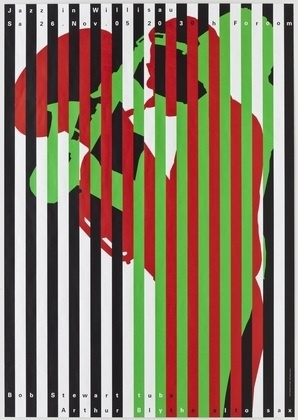 MoMA | The Collection | Niklaus Troxler. Jazz in Willisau:, Bob Stewart-Arthur Blythe. 2005 #silkscreen #swiss #jazz #poster #strips #troxler #niklaus