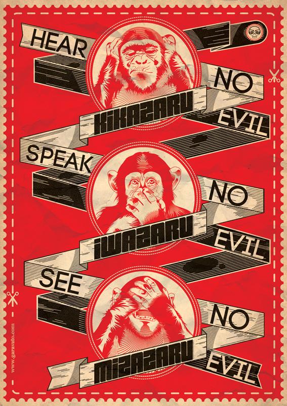 3 Wise Monkeys x garavato on Behance #garavato #wise #3 #poster #monkeys