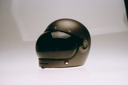 bubble visor: Chad Hodge Bullitt Helmets #bubble #helmet #design #black #motorcycles #vintage