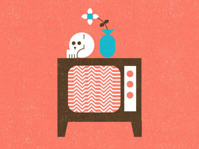 Skull,TV, Flower #mikey #burton