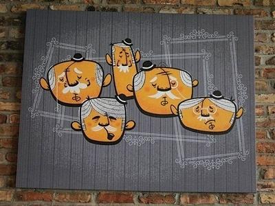Dribbble - The Bowler Bros by Chris Sandlin #sockmonkee #mural #illustrations #heads