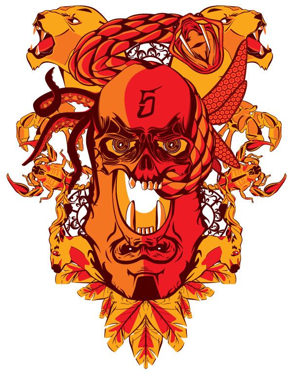 The Limited on the Behance Network #print #octopus #shirt #elk #snake #illustration #gorilla #skull