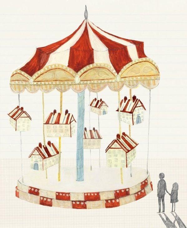 Azul Siena: Merry Go Round. Katie Harnett #houses #illustration #carousel