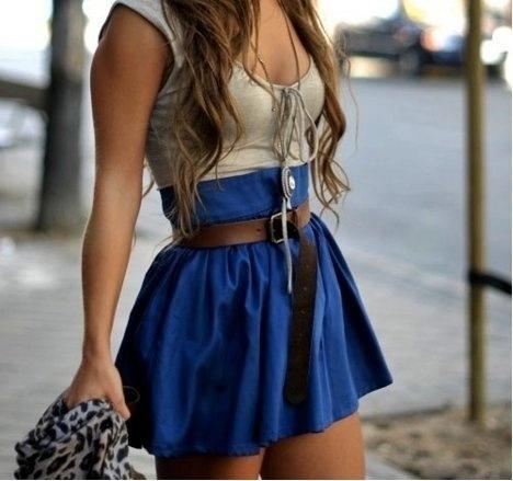 Fancy - Navy Blue Pleated Skirt #fashion