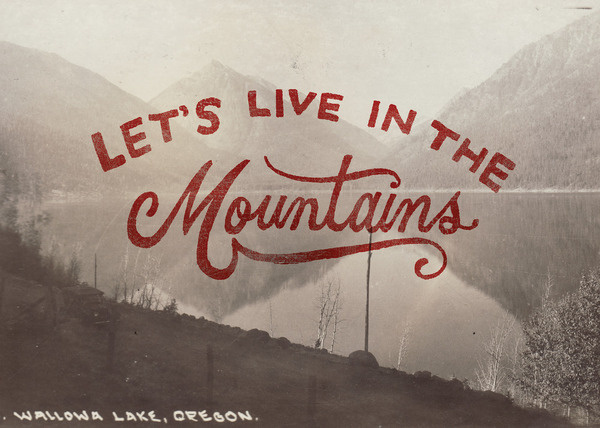 Image of Let's Live in the Mountains Print #type #postcard #vintage