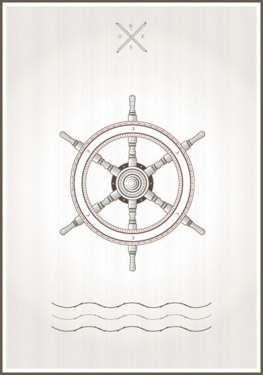 Shipwheel #sailor #illustration #poster #poste