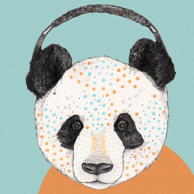Sandra Dieckmann #music #illustration #panda #animals