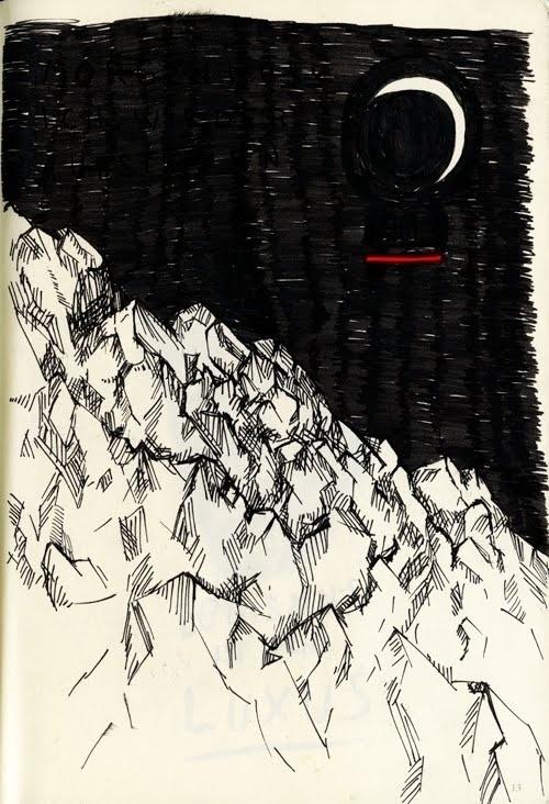 skizzenbuch001.jpg (JPEG-Grafik, 500×732 Pixel) #night #rocks #moon