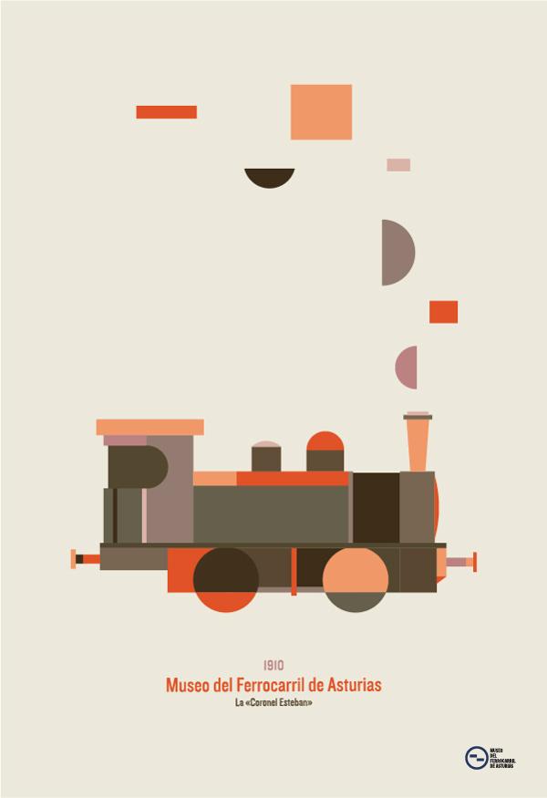 museo del ferrocarril de asturias on Behance #train #vector #museum #color #palette #illustration