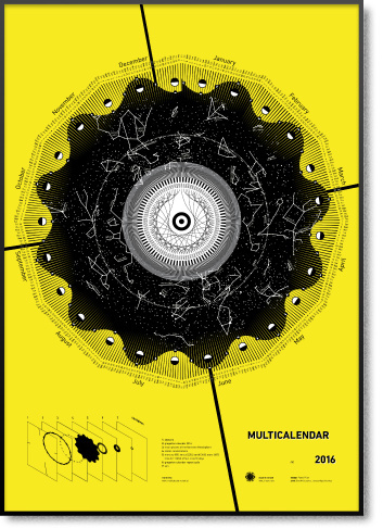 Multicalendar 2016 This year is even more special, include: - seasons - gregorian calendar - moon phases of the Northern Hemisphere - zodia