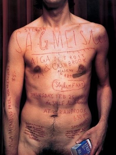 Sagmeister Aiga Detroit poster | Sagmeister Inc. #lecture #typography #body #scalpel #photography #handmade #poster #aiga #sagmeister