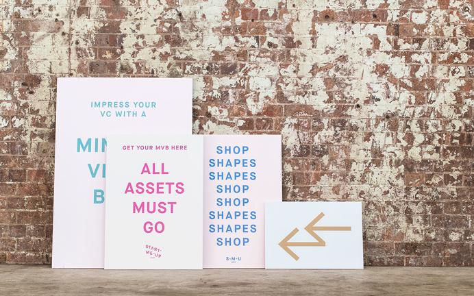 Start-Me-Up Labs start up typography type graphic design business card print modern fair stand presentation school minimal packaging designe