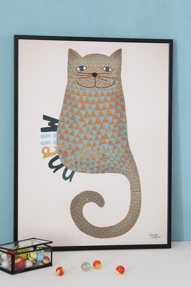 #nordic #design #graphic #illustration #danish #bright #simple #nordicliving #living #interior #kids #room #poster #cat #miiauu