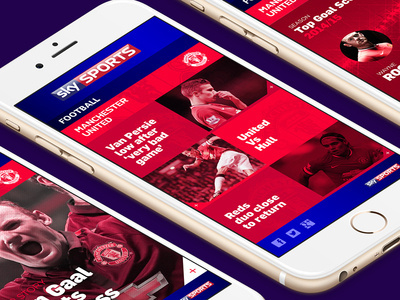 Sky Sports Football // News Stories #red #ux #responsive #layout #ui #clean #grid #website #sports #mobile #football #web