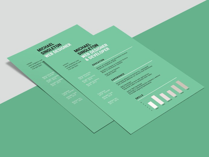 Free Resume Template With Green Background Accents
