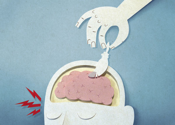 internazionale : bomboland #head #brain #feather #illustration #papercut