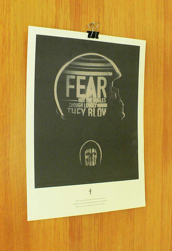 Varsity Crime Wave #projection #poem #helmet #projected #fear #poster #skull #evil