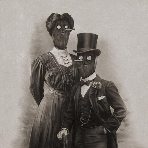 Fancy Couple   Flickr - Photo Sharing! #couple #white #black #masks #illustration #and #odd #drawing