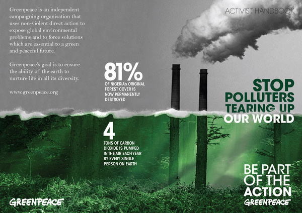 Greenpeace - Be Part of the Action #greenpeace #a5 #torn #folded #duotone #paper #pollution #brochure #green