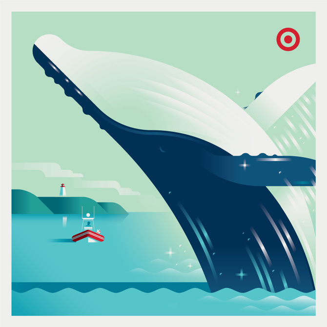 Illustration, Target, whale, sea, tugboat, lighthouse, harbor, blue, red, white, green, ripples, water, ad, advertisement