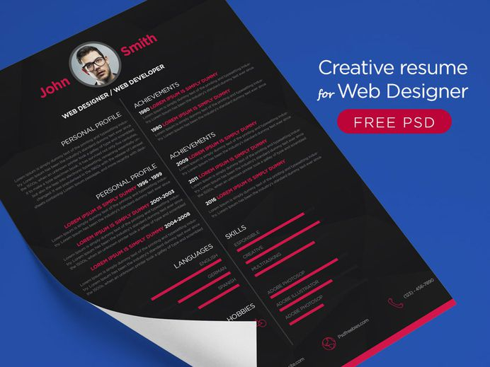 Free Dark Resume Template with Minimalistic Style Design