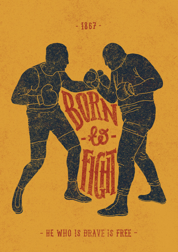 Born to Fight #orka #illustration #poster #abo #typography