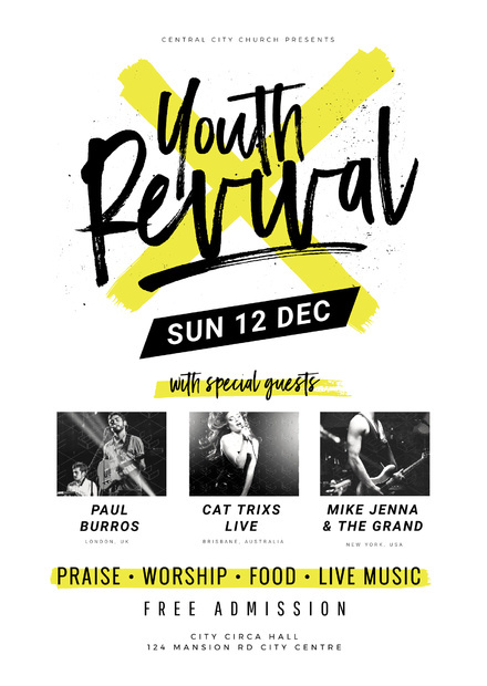 Youth Revival Church Event Template #poster #fetival #event