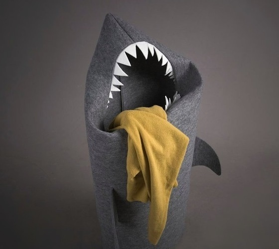 Felt Shark Laundry Hamper #fabric #clothes #hamper #design #shark #laundry #product #felt