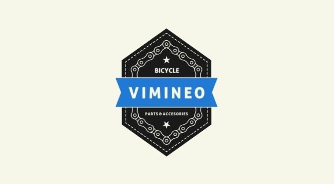 Vimineo logo design #badge #bicycle #path #chain #star #ribbon #logo