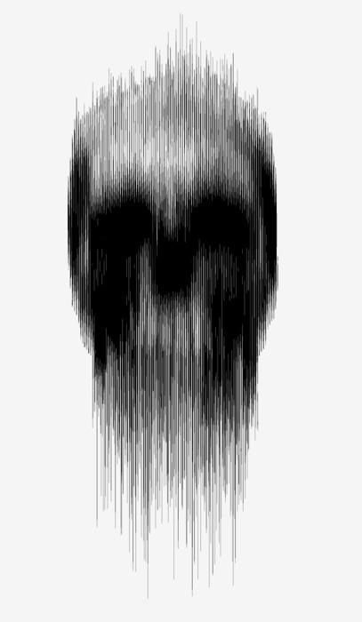 Melting skull #abstract #lines #spliced #skull #death #vertical